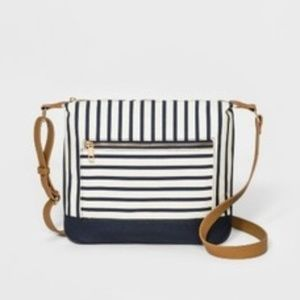 Striped Canvas Messenger Bag